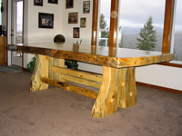 trestle style log table